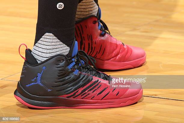 The sneakers of Blake Griffin of the LA Clippers are seen before the game against the Indiana Pacers on November 27 2016 at Bankers Life Fieldhouse...