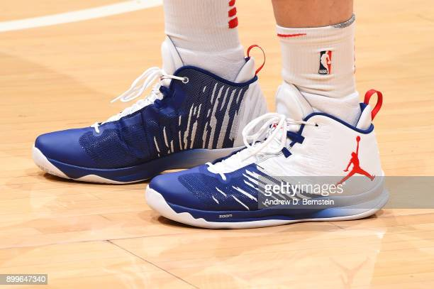 The sneakers of Blake Griffin of the LA Clippers are seen before the game against the Los Angeles Lakers on December 29 2017 at STAPLES Center in Los...
