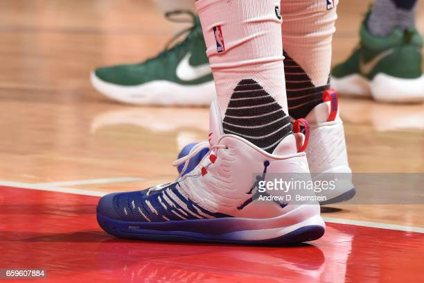 The sneakers of Blake Griffin of the LA Clippers are seen during a game against the Utah Jazz on March 25 2017 at STAPLES Center in Los Angeles...