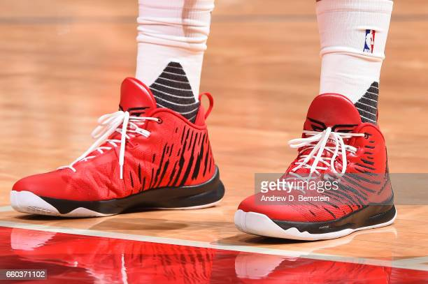 The sneakers of Blake Griffin of the LA Clippers are seen during a game against the Washington Wizards on March 29 2017 at STAPLES Center in Los...