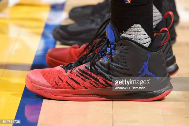 The sneakers of Blake Griffin of the LA Clippers are seen during the game against the Golden State Warriors on February 23 2017 at ORACLE Arena in...
