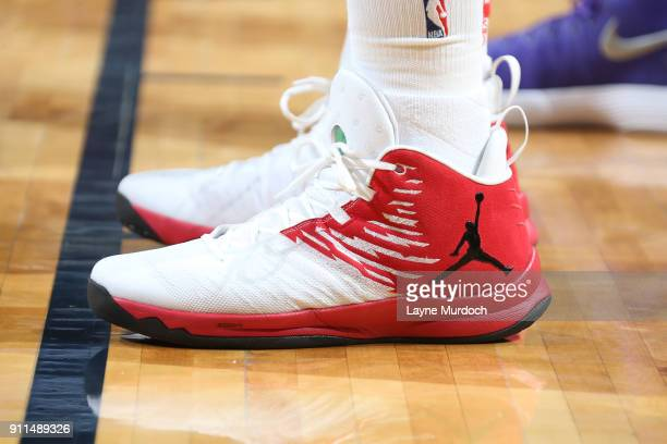 The sneakers of Blake Griffin of the LA Clippers are seen during the game against the New Orleans Pelicans on January 28 2018 at Smoothie King Center...