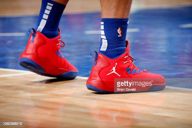 the sneakers of Blake Griffin of the Detroit Pistons are seen against the Charlotte Hornets n November 11 2018 at Little Caesars Arena in Detroit...