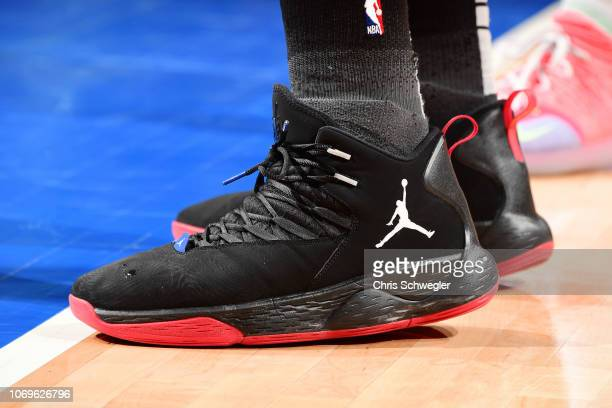 the sneakers of Blake Griffin of the Detroit Pistons are seen against the Philadelphia 76ers on December 7 2018 at Little Caesars Arena in Detroit...