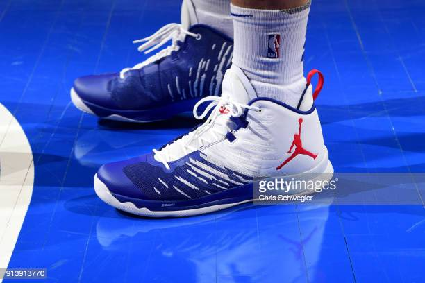 The sneakers of Blake Griffin of the Detroit Pistons before the game against the Miami Heat on February 3 2018 at Little Caesars Arena in Detroit...