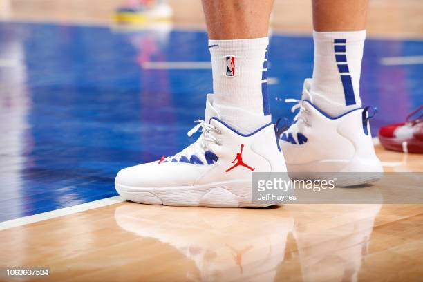 The sneakers of Blake Griffin of the Detroit Pistons during the game against the Cleveland Cavaliers on November 19 2018 at Little Caesars Arena in...