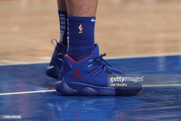 The sneakers of Blake Griffin of the Detroit Pistons during the game against the Golden State Warriors on December 1 2018 at Little Caesars Arena in...