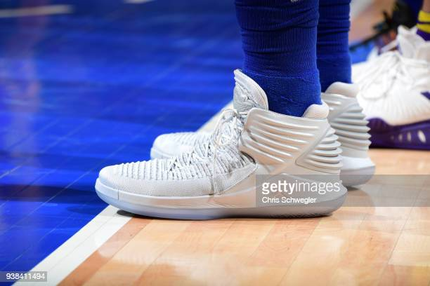 The sneakers of Blake Griffin of the Detroit Pistons during the game against the Los Angeles Lakers on March 26 2018 at Little Caesars Arena in...