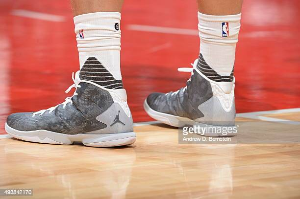The sneakers of Blake Griffin of the Los Angeles Clippers during a preseason game against the Portland Trail Blazers on October 22 2015 at STAPLES...