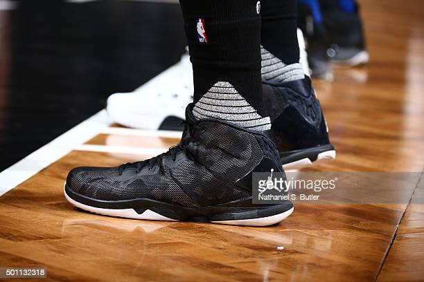 The sneakers of Blake Griffin of the Los Angeles Clippers during the game against the Brooklyn Nets on December 12 2015 at Barclays Center in...