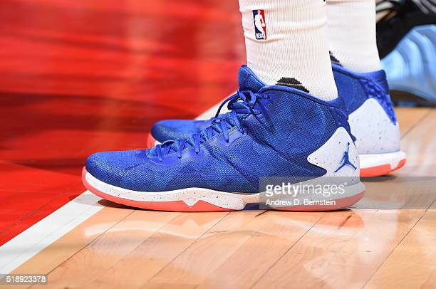 The sneakers of Blake Griffin of the Los Angeles Clippers during the game against the Washington Wizards on April 3 2016 at STAPLES Center in Los...