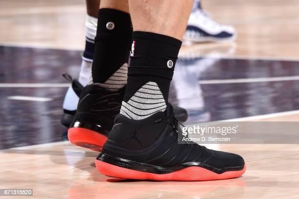 The sneakers of Blake Griffin of the Los Angeles Clippers during the game against the Utah Jazz during the Western Conference Quarterfinals of the...