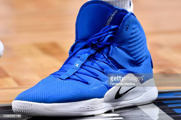 The sneakers of Boban Marjanovic of the LA Clippers are worn during a game against the Orlando Magic on November 2 2018 at Amway Center in Orlando...