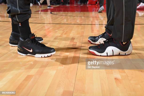 The sneakers of Bobby Brown and PJ Tucker of the Houston Rockets before the game against the Charlotte Hornets on December 13 2017 at the Toyota...