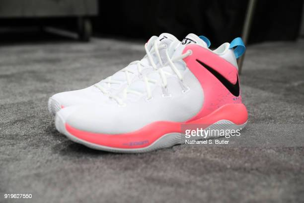 The sneakers of Bradley Beal of Team LeBron during the NBA AllStar practice as part of the 2018 NBA AllStar Weekend on February 17 2018 at the...