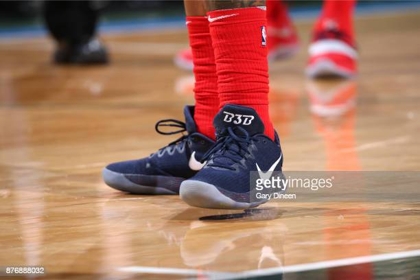 The sneakers of Bradley Beal of the Washington Wizards are seen during the game against the Milwaukee Bucks on November 20 2017 at the BMO Harris...