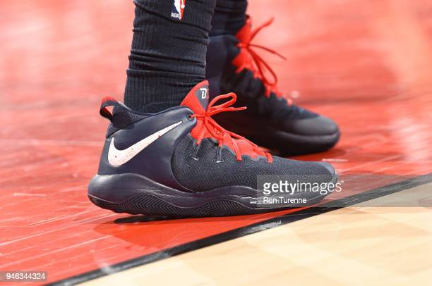 The sneakers of Bradley Beal of the Washington Wizards are seen during the game against the Toronto Raptors in Game One of Round One of the 2018 NBA...