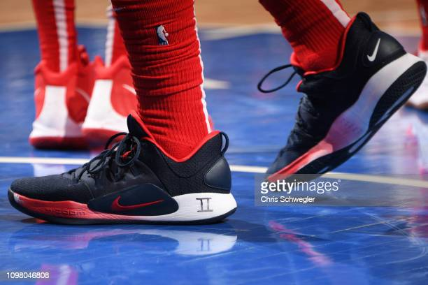 The sneakers of Bradley Beal of the Washington Wizards are worn during a game against the Detroit Pistons on February 11 2019 at Little Caesars Arena...