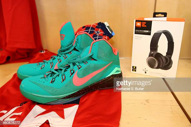 The sneakers of Bradley Beal of the Washington Wizards before a game between the New York Knicks and the Washington Wizards at Madison Square Garden...