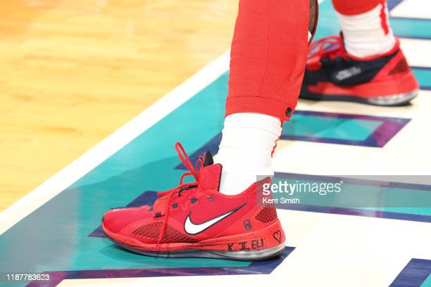 The sneakers of Bradley Beal of the Washington Wizards during a game against the Charlotte Hornets on December 10 2019 at Spectrum Center in...