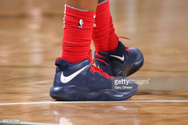 The sneakers of Bradley Beal of the Washington Wizards during the game against the Milwaukee Bucks on February 27 2018 at the BMO Harris Bradley...