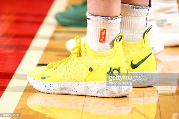 The sneakers of Breanna Stewart of the Seattle Storm are seen during the game against the Washington Mystics during Game Three of the 2018 WNBA...