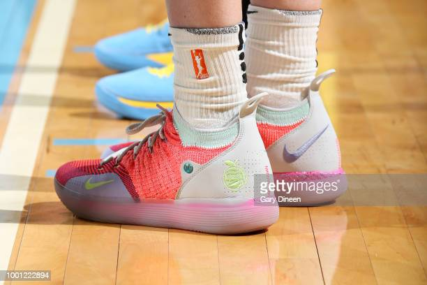The sneakers of Breanna Stewart of the Seattle Storm during the game against the Chicago Sky on July 18 2018 at the Wintrust Arena in Chicago...