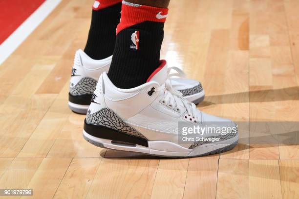 The sneakers of Briante Weber of the Houston Rockets are seen during the game against the Detroit Pistons on January 6 2018 at Little Caesars Arena...