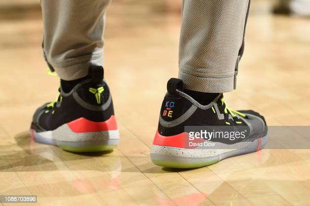 The sneakers of Bryn Forbes of the San Antonio Spurs are seen against the Philadelphia 76ers on January 23 2019 at the Wells Fargo Center in...