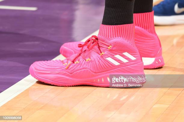 The sneakers of Candace Parker of the Los Angeles Sparks are seen during the game against the Minnesota Lynx on August 2 2018 at STAPLES Center in...