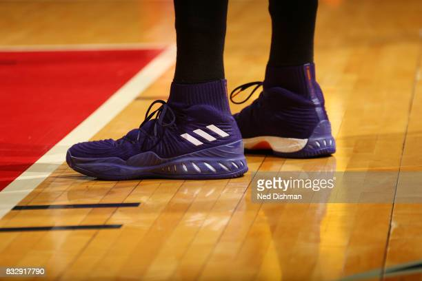 The sneakers of Candace Parker of the Los Angeles Sparks are seen during the game against the Washington Mystics on August 16 2017 at the Verizon...