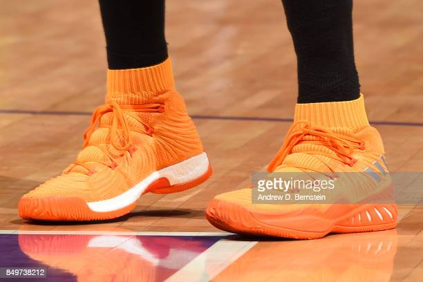 The sneakers of Candace Parker of the Los Angeles Sparks are seen during the game against the Phoenix Mercury in Game One of the Semifinals during...