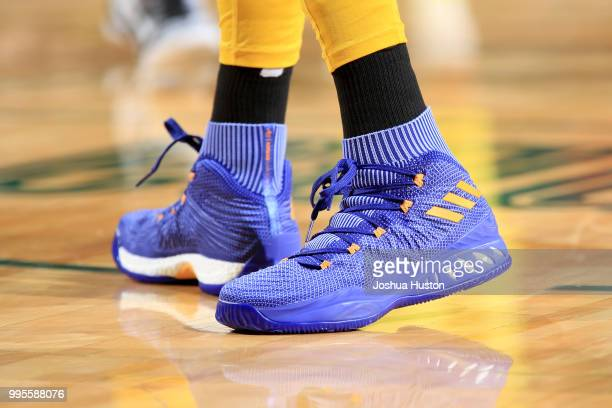 The sneakers of Candace Parker of the Los Angeles Sparks during the game against the Seattle Storm on July 10 2018 at Key Arena in Seattle Washington...