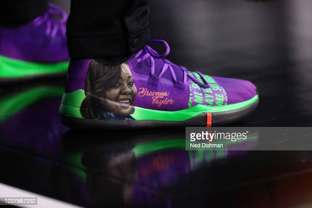 The sneakers of Candice Dupree of the Indiana Fever during the game against the Washington Mystics on August 9, 2020 at Feld Entertainment Center in...