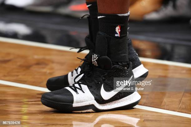 The sneakers of Caris LeVert of the Brooklyn Nets are seen during the game against the Denver Nuggets on October 29 2017 at Barclays Center in...