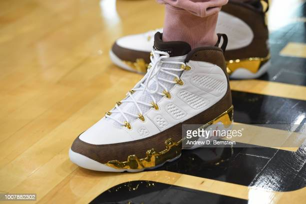 The sneakers of Carmelo Anthony during USAB Minicamp at Mendenhall Center on the University of Nevada Las Vegas campus on July 27 2018 in Las Vegas...