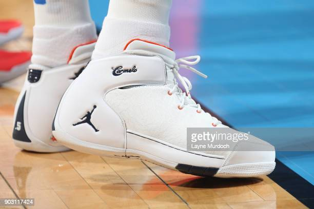 The sneakers of Carmelo Anthony of the Oklahoma City Thunder are seen during the game against the Portland Trail Blazers on January 9 2018 at...