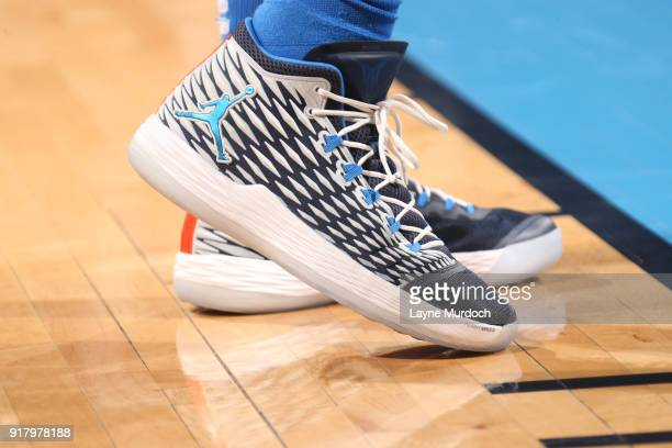 The sneakers of Carmelo Anthony of the Oklahoma City Thunder are seen during the game against the Cleveland Cavaliers on February 13 2018 at...