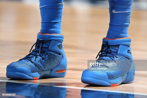 The sneakers of Carmelo Anthony of the Oklahoma City Thunder during the game against the Minnesota Timberwolves on January 10 2018 at Target Center...