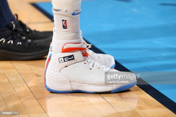 The sneakers of Carmelo Anthony of the Oklahoma City Thunder during the game against the Utah Jazz during Game One of Round One of the 2018 NBA...