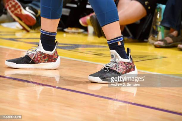 The sneakers of Cecilia Zandalasini of the Minnesota Lynx are seen during the game against the Los Angeles Sparks on August 2 2018 at STAPLES Center...