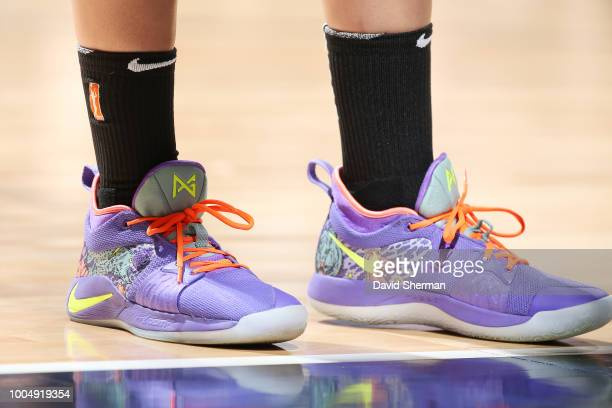 The sneakers of center Amanda Zahui B #17 of the New York Liberty as seen during the game against the Minnesota Lynx on July 24 2018 at Target Center...