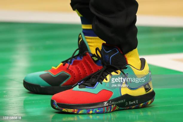 The sneakers of Chris Paul of Team LeBron during the Taco Bell Skills Challenge as part of 2021 NBA All Star Weekend on March 7, 2021 at State Farm...