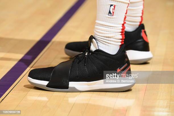 the sneakers of Chris Paul of the Houston Rockets are seen against the Los Angeles Lakers on October 20 2018 at STAPLES Center in Los Angeles...