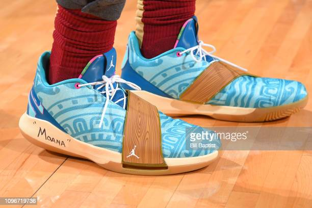 The sneakers of Chris Paul of the Houston Rockets before the game against the Oklahoma City Thunder on February 9 2019 at the Toyota Center in...