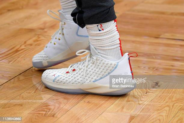 The sneakers of Chris Paul of the Houston Rockets before the game against the Boston Celtics on March 3 2019 at the TD Garden in Boston Massachusetts...