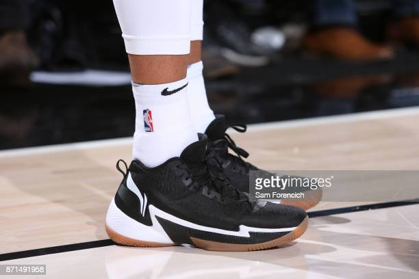 The sneakers of CJ McCollum of the Portland Trail Blazers are seen during the game against the Memphis Grizzlies on November 7 2017 at the Moda...