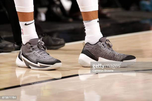 The sneakers of CJ McCollum of the Portland Trail Blazers are seen during the game against the Denver Nuggets on November 13 2017 at the Moda Center...