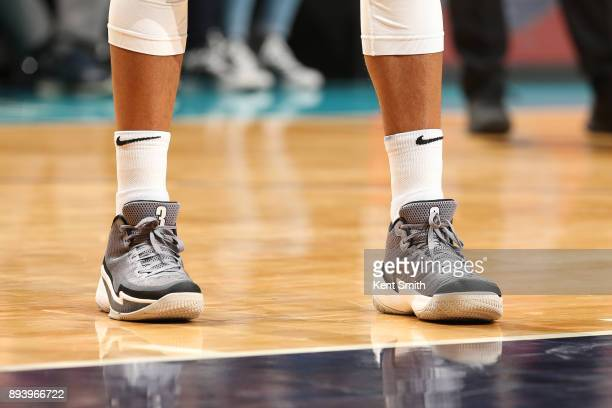 The sneakers of CJ McCollum of the Portland Trail Blazers are seen during the game against the Charlotte Hornets on December 16 2017 at Spectrum...