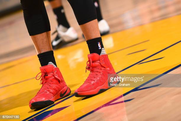 The sneakers of CJ McCollum of the Portland Trail Blazers during the game against the Golden State Warriors during Game Two of the Western Conference...